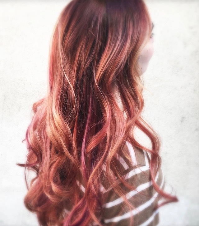 Free hand hair painting with red hair colors