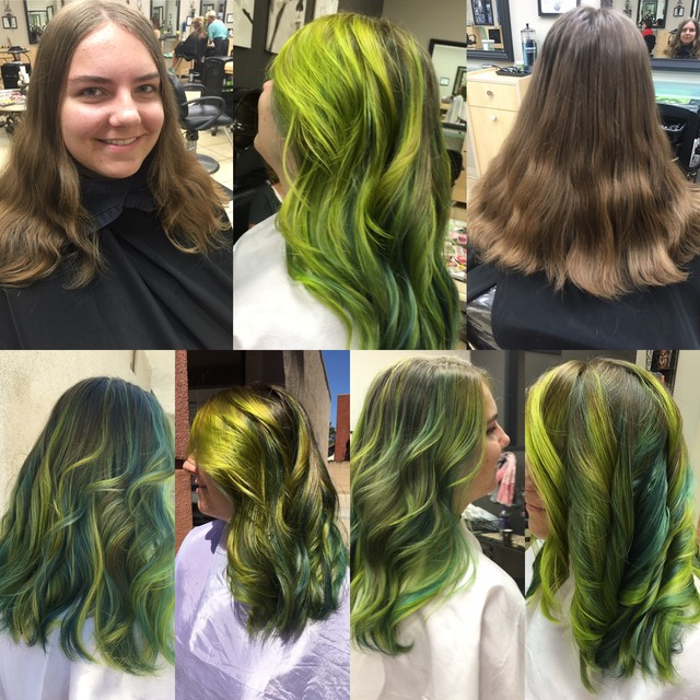 Before and after creating mermaid hair coloring 2016 Green , teal green, yellow green by martin rodriguez founder of colourwand balayage tools