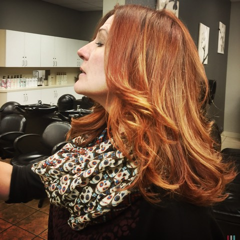Hair painting copper and golden apricot hair colour