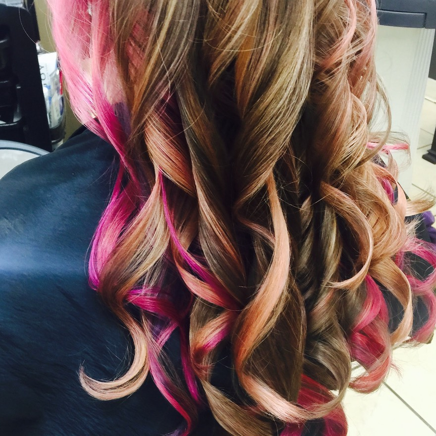 Blended candy hair color on long hair.