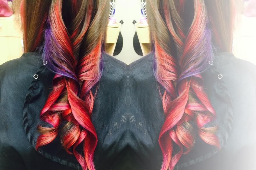 A combination of colors on long hair.