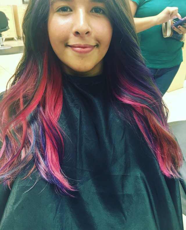 Red Pink and purple mermaid hair color painting