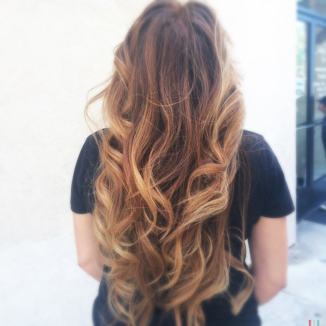 Golden amber long hair painting