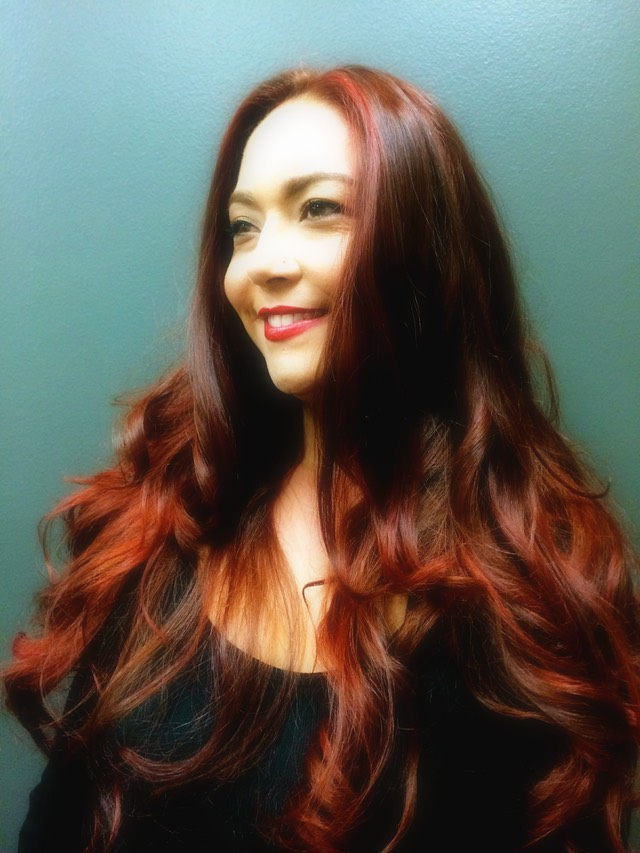 red hair color on long hair using up to four shades